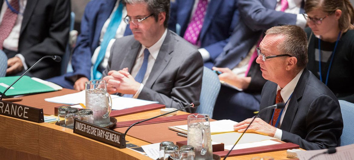 Jeffrey Feltman, Under-Secretary-General for Political Affairs, briefs the Security Council at a meeting on threats to international peace and security caused by terrorist acts.