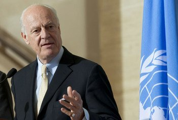 Staffan de Mistura, UN Special Envoy for Syria at a press conference after meeting with the ISSG Humanitarian Access Task Force.  (file)