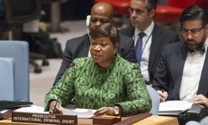 Fatou Bensouda, Procureur de la Cour pénale internationale (CPI) devant le Conseil de sécurité. Photo ONU/Loey Felipe