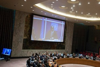 Modibo Touré, le Représentant spécial du Secrétaire général pour la Guinée-Bissau, s'exprime par vidéoconférence devant le Conseil de sécurité. Photo ONU/Loey Felipe