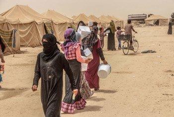 أسر عراقية من الفلوجة وصلت لتوها لتلقي المساعدات الطارئة في الخالدية. OCHA/Themba Linden