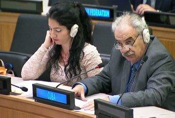 El delegado de Cuba, el embajador Humberto Rivero Rosario, presenta la resolución sobre la cuestión de Puerto Rico, este lunes ante el Comité Especial de Descolonización. Foto: Radio ONU/captura de video