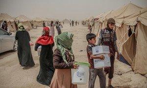 Des familles arrivées de Falloujah reçoivent une assistance à Al Khalidiya. Photo : OCHA/Themba Linden.