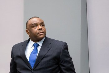 Former Congolese vice-president Jean-Pierre Bemba Gombo in the ICC courtroom during the delivery of his sentence on 21 June 2016.