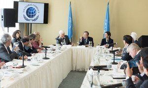 Secretary-General Ban Ki-moon (centre) chairs a meeting of the United Nations Global Compact Board.