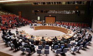 A wide view of the Security Council meeting on the work of the Peacebuilding Commission.