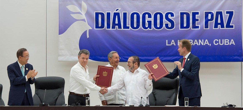 Ban Ki-moon, testigo del histórico acuerdo entre el Gobierno de Colombia y  las FARC-EP firmado hoy en Cuba | Noticias ONU