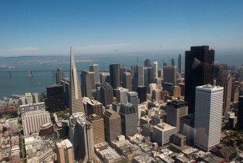 Vue aérienne de la ville de San Francisco, Etat de Californie, aux Etats-Unis.