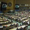 Wide view of the General Assembly Hall while ballots are being collected for the election of new non-permanent members of the Security Council for two-year terms starting on 1 January 2017.