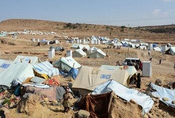 Un site accueillant des déplacés à Khamer, dans le gouvernorat d'Amran, au Yémen. Photo OCHA/Philippe Kropf