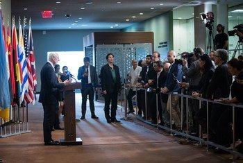 Staffan de Mistura, UN Special Envoy for Syria, speaks to journalists following his closed-door briefing to the Security Council.