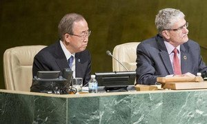 Secretary-General Ban Ki-moon (left) and General Assembly President Mogens Lykketoft during a meeting on the fifth review of the UN Global Counter-Terrorism Strategy.