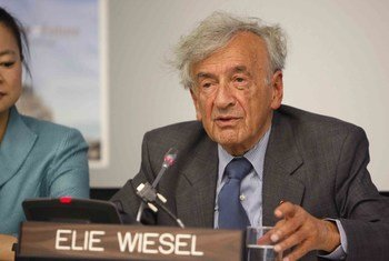 Elie Wiesel, UN Messenger of Peace and Nobel Laureate, addresses the annual UN Department of Public Information (DPI) Student Youth Conference, on 17 September 2010, at the United Nations Headquarters in New York.
