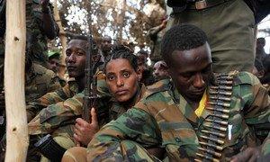 Des soldats éthiopiens de la Mission de l'Union africaine en Somalie (AMISOM), après un affrontement avec des membres d'Al-Shabaab le 9 juin 2016 dans le village d'Halgan, en Somalie. Photo AMISOM/Ilyas Ahmed