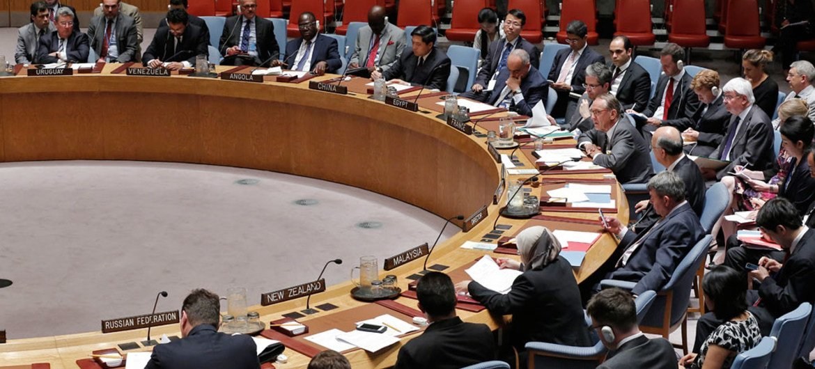 A view of the Security Council Chamber as Deputy Secretary-General Jan Eliasson addresses the Council's meeting concerning the Democratic Republic of the Congo.