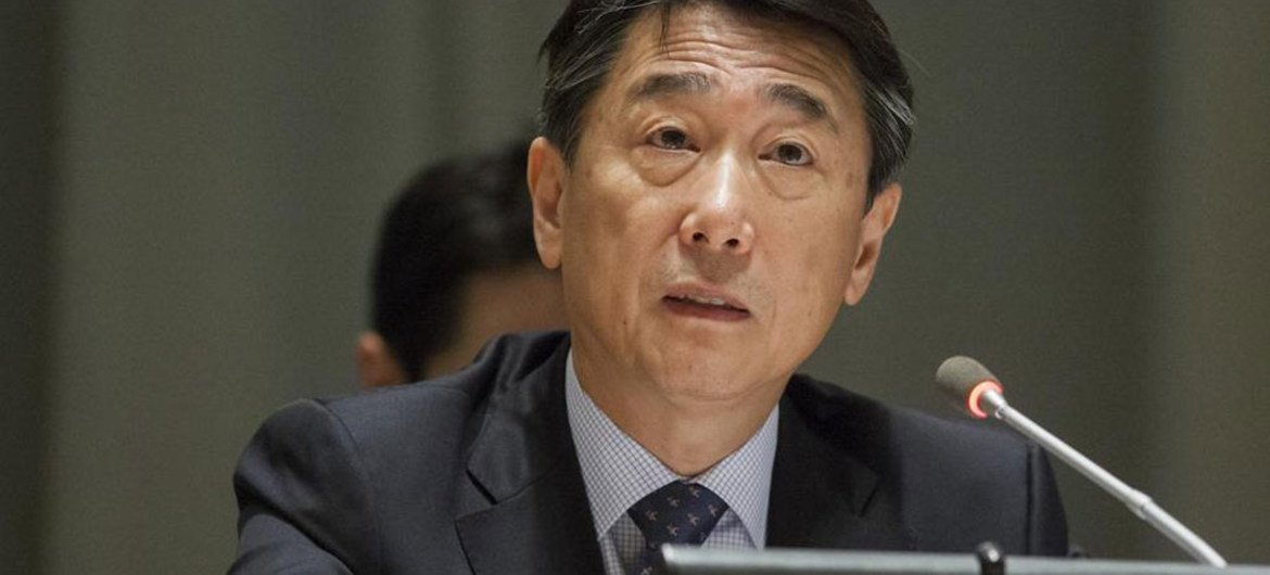 President of ECOSOC Oh Joon addresses the UN High-level Political Forum on Sustainable Development.