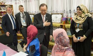 On 28 June 2016, Secretary-General Ban Ki-moon (centre) visits a school in Gaza run by the UN Relief and Works Agency for Palestine Refugees in the Near East (UNRWA).