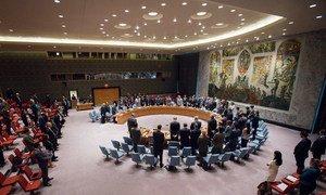 Avant l'ouverture d'une réunion sur la situation en Iraq, vendredi 15 juillet 2016, les membres du Conseil de sécurité de l'ONU observent une minute de silence en mémoire des victimes de l'attentat perpétré la veille à Nice, dans le Sud de la France. Photo : ONU / Manuel Elias