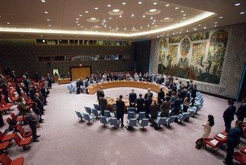 安理会成员为法国尼斯恐袭事件遇难者默哀。联合国图片/Manuel Elias