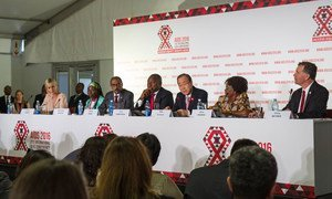 Secretary-General Ban Ki-moon (3rd right) speaks at the opening press conference of the 21st International AIDS Conference (AIDS 2016), in Durban, South Africa.