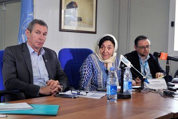 Leila Zerrougui, Special Representative of the UN Secretary-General for Children and Armed Conflict, (2nd right), briefs journalists at a press conference in Mogadishu, Somalia (21 July  2016).