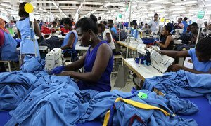 Dignity factory workers producing shirts for overseas clients, in Accra, Ghana.
