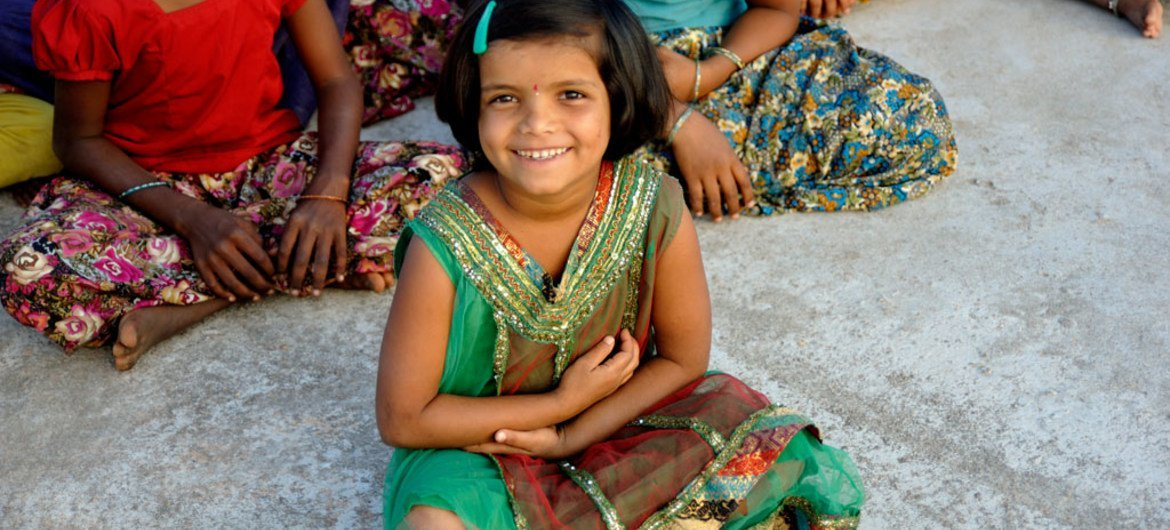 A young girl at the Bhagyanagar Children's' homes, which supports children between 6 and 14 who have lost their parents or are children of migrant labourers. Many of the girls and boys are at risk of becoming involved in child labour before they arrive.