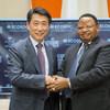 Outgoing ECOSOC President Oh Joon of the Republic of Korea (left), greets his successor Frederick Musiiwa Makamure Shava of Zimbabwe.