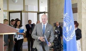 Staffan de Mistura, UN Special Envoy for Syria briefs the press in Geneva.