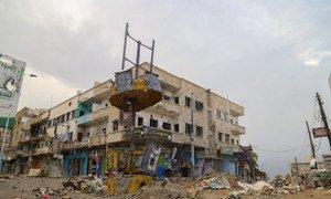 War-torn Taiz governorate district of Al Qahira, Yemen.