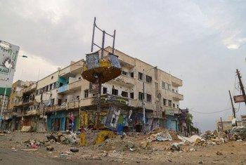 Le quartier d'Al Qahira ravagé par la guerre dans le gouvernorat de Taëz au Yémen. Photo PAM