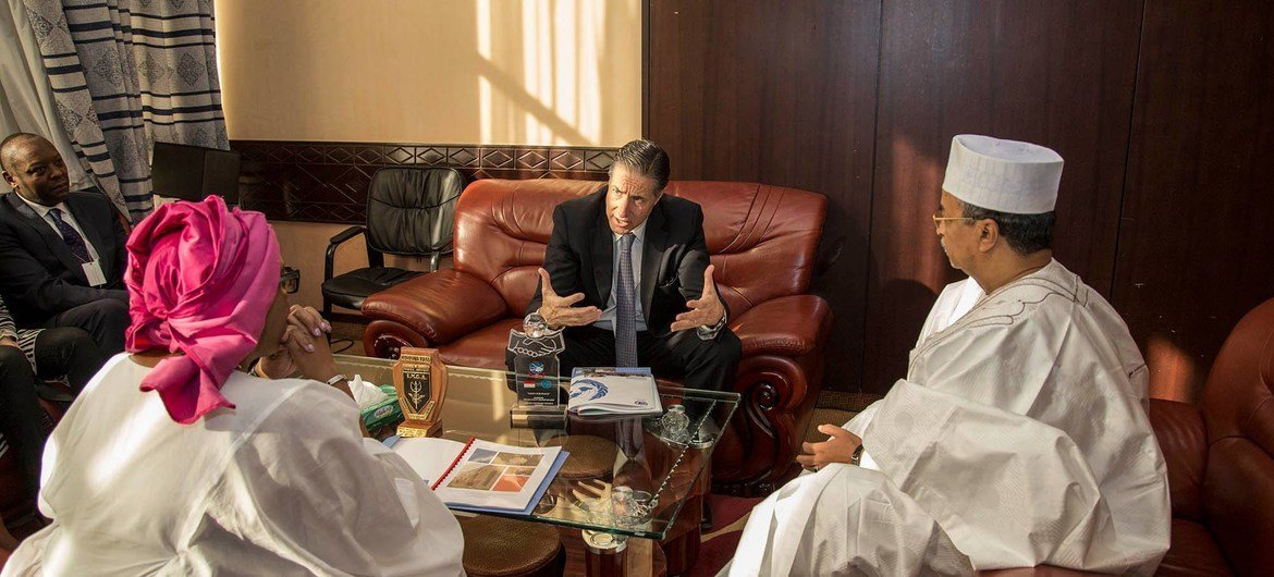 Head of MINUSMA Mahamat Saleh Annadif receives Oscar Fernandez-Taranco, Assistant Secretary-General for Peacebuilding Support while visiting Mali. During the visit,  Fernandez-Taranco will seize the opportunity to consult with the Malian authorities on United Nations support to national and international efforts to consolidate peace.
