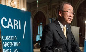 Secretary-General Ban Ki-moon delivers a key note address at the Argentine Council of Foreign Relations in Buenos Aires.