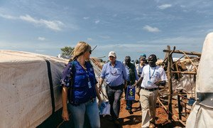 On 2 August 2016, Emergency Relief Coordinator, Stephen O'Brien (centre), visited the protected site adjacent to the UNMISS base in Wau, South Sudan, where more than 20,000 people are seeking protection as a result of recent conflict.
