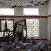 A classroom in Sa'ada, Yemen, was badly damaged in the recent conflict in April 2016.