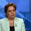 Patricia Espinosa, Executive Secretary of the UN Framework Convention on Climate Change (UNFCCC), sits down for an interview with UN News Centre in New York. <em>Source: Video screen capture</em>