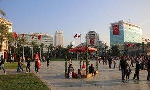 Street scene in Izmir, Turkey.