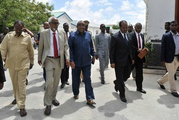 Federal and Regional leaders of Somalia after the conclusion of the National Leadership Forum held in Mogadishu on 12 April 2016, which dealt with the 2016 electoral process, among other issues.