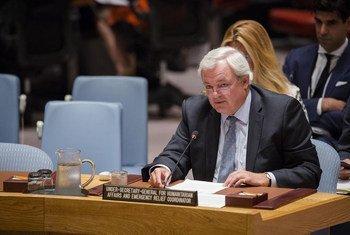 Stephen O'Brien en el Consejo de Seguridad de la ONU. Foto: ONU/Manuel Elías