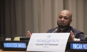 Mubinoddin Shaikh, former Taliban radical, addresses the General Assembly High-level Thematic Conversation on Children and Youth affected by Violent Extremism.