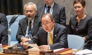 Le Secrétaire général Ban Ki-moon devant le Conseil de sécurité. Photo ONU/JC McIlwaine
