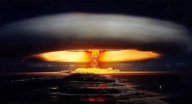 """1971年在法属波利尼西亚进行的""""独角兽核试验""""。"""