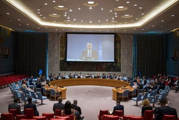 UN Special Coordinator for the Middle East Peace Process Nickolay Mladenov (shown on screen), briefs the Security Council via video teleconference.