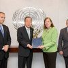 """Secretary-General Ban Ki-moon meets with Virginia Gamba (centre right), Head of the OPCW-UN Joint Investigative Mechanism, tasked with identifying """"individuals, entities, groups, or governments involved in the use of chemicals as weapons"""" in Syria."""