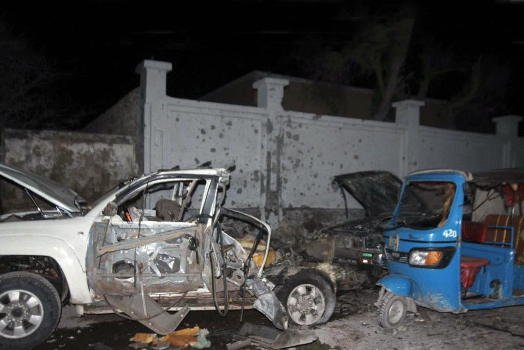 Violent extremists have carried out bombings in the Somali capital of Mogadishu on various occasions. Shown here is the aftermath of a car bomb attack on the city's Banadir Beach hotel on 25 August 2016.