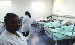 Female patients, who are suspected to have yellow fever, are treated in this room at the Hospital Geral de Luanda, Angola. WHO/Dalia Lourenço