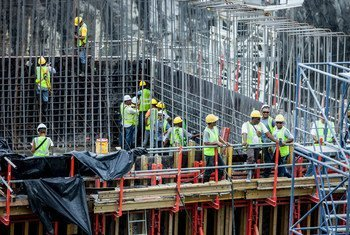 Construction workers on the Panama Canal expansion project.