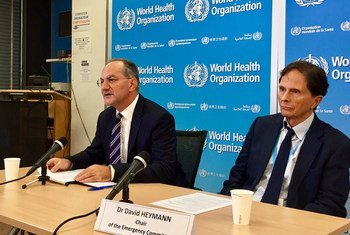 Peter Salama (left), Executive Director, WHO Health Emergency Programme, and David Heymann, Chairperson of WHO International Health Regulations (IHR) Emergency Committee brief the press in Geneva on the Zika Virus.