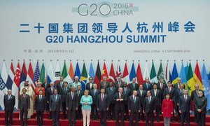 Leaders attending the G20 summit in Hangzhou, China, pose for a commemorative photo at the opening ceremony on 4 September 2016.