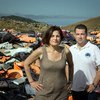 Efi Latsoudi, human rights activist behind PIKPA camp, and Hellenic Rescue Team leader Konstantinos Mitragas, in front of a vast pile of lifejackets in northern Lesvos, a haunting reminder of the dangers faced by refugees who arrived on Greek shores in 2015.